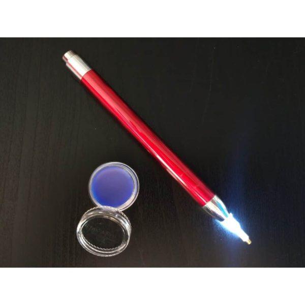 Jacarou - Kit Stylet lumineux Rouge pour Broderie de Diamants et Cire parfumée Framboise