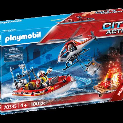 Playmobil City Action - Brigade de pompiers avec bateau et hélicoptère # 70335