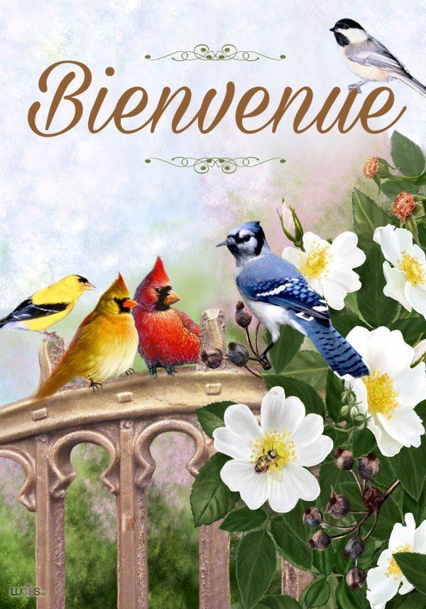 Drapeau - Oiseaux Sur La Clôture 28'' x 40''