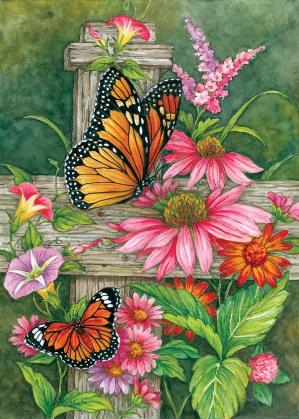Drapeau - Papillons sur Clôture par Lorraine Ryan 28'' x 40''