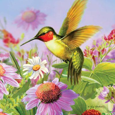 Drapeau - Colibris dans les Fleurs 12'' x 18''