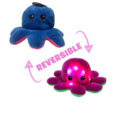 Pieuvre Réversible LED Bleu Foncé/Rose Fuchsia
