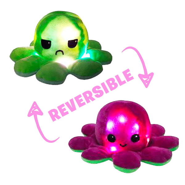 Pieuvre Réversible LED Vert/Rose Fuchsia