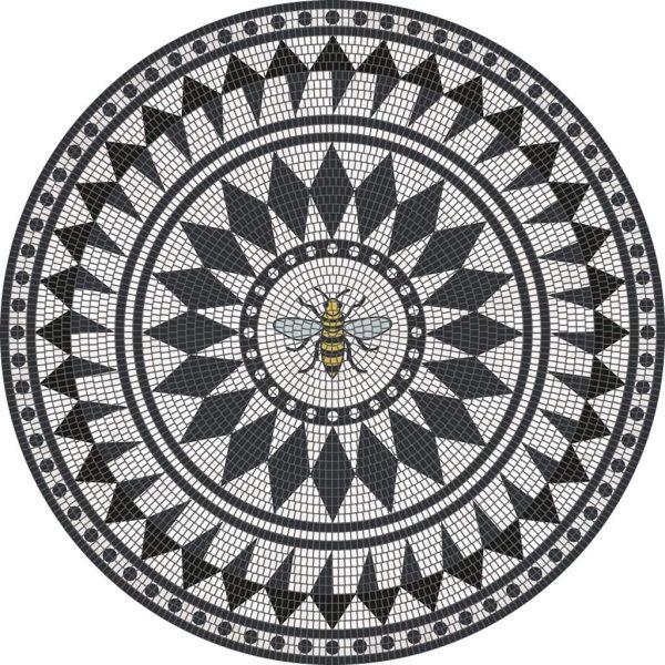 Tapis Rond 3.2' - Abeille sur Carrelage Blanc et Noir