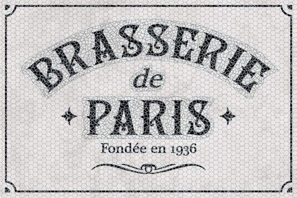 Tapis Rectangle 2' x 3' - Brasserie de Paris Carrelage Blanc Noir