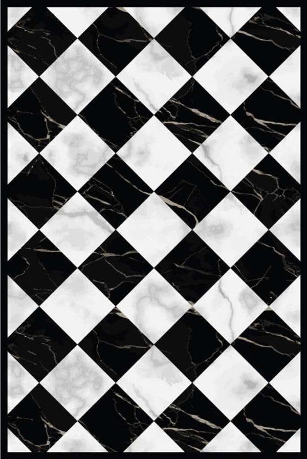 Tapis Rectangle 2' x 3' - Carrelage Damier effet Marbre Blanc Noir