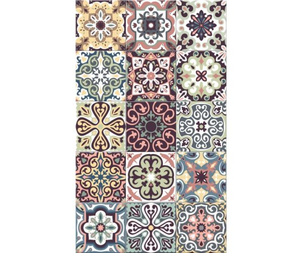 Tapis Rectangle 2' x 3' - Carrelage Portugais Multi couleurs Pastel