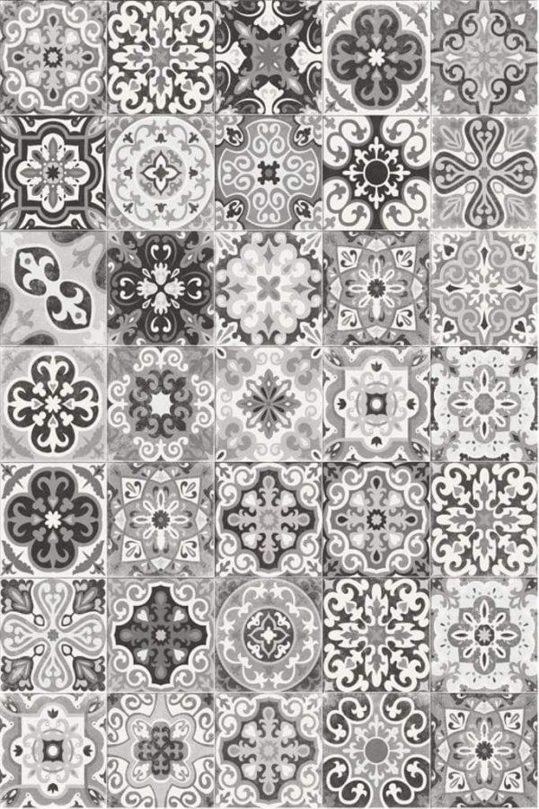 Tapis Rectangle 2' x 3' - Carrelage Portugais nuances de Gris et Blanc