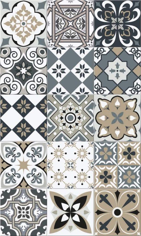 Tapis Rectangle 2' x 3' - Carrelage Portugais Nuances de Gris Taupe