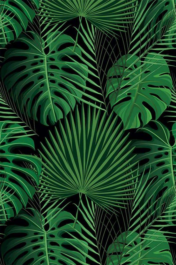 Tapis Rectangle 2' x 3' - Feuillage Vert fond Noir