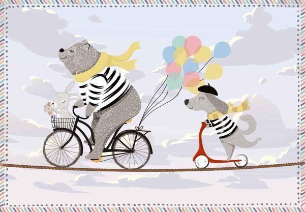 Tapis Rectangle 2' x 3' - Ours à vélo et Chien sur une Trottinette