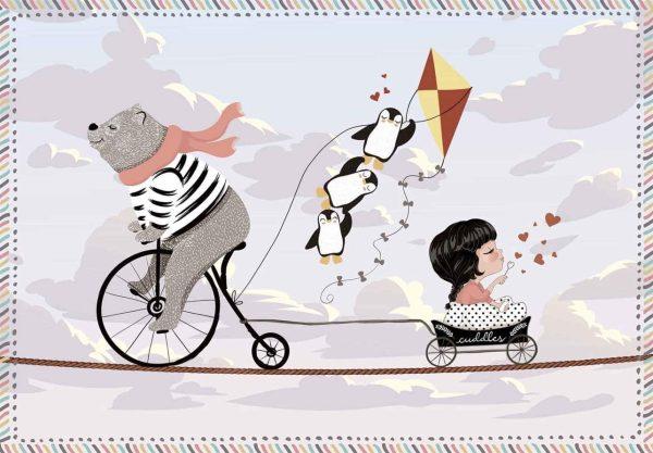 Tapis Rectangle 2' x 3' - Ours sur Grand Bi Pingouins et Petite Fille