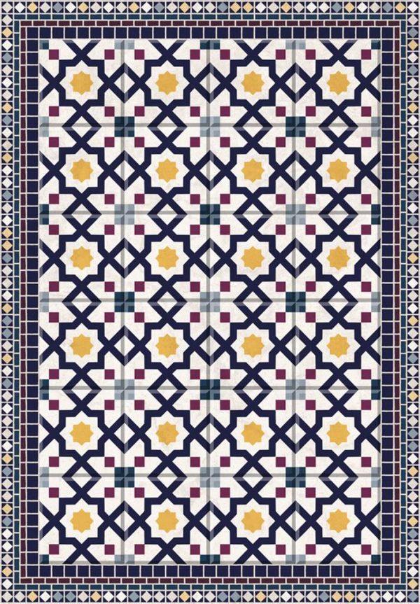 Tapis Rectangle 2' x 3' - Tapis Carrelage Mosaïque Géométrique Jaune