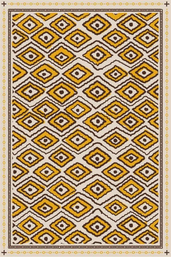 Tapis Jaune Géométrique Abstrait